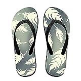 Couple Flip Flops Feather Fallen Print Chic Sandals Slipper Rubber Non-Slip Spa Thong Slippers