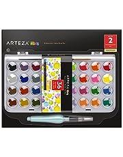 Arteza Kids Estuche de acuarelas y pincel para niños | 36 colores de pintura de acuarelas infantiles | Incluye pincel de agua | Colores premium