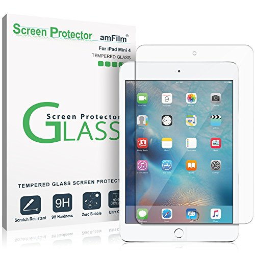 iPad Mini 4 Screen Protector Glass, amFilm Tempered Glass Screen Protector for Apple iPad Mini 4 2015 0.33mm 2.5D Rounded Edge - Protector Mini Screen Ipad Apple