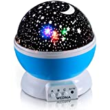 WEDNA Novelty 360 Rotating Galaxy Night Light, Romantic Cosmos Star Moon Sky Projector, Idea Bedroom Lamp for...
