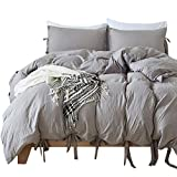 Hootech 3 Piece Duvet Cover Set Washed Cotton Natural Ultra Soft Solid Color Modern Style Bedding Set (Grey, King)