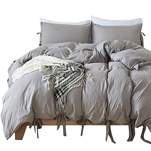willstar 2 Piece Duvet Cover Set Washed Cotton Natural Ultra Soft Solid Color Modern Style Bedding Set (Grey, Twin) by willstar