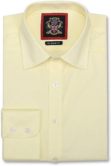 Camisas Hombre Lisa Manga Larga,14 Colores Clásicos Ajuste Regular,Puño Simple y Doble,Tallas 37-56cm & 10 Colores Vivos Ajustado, S - ...