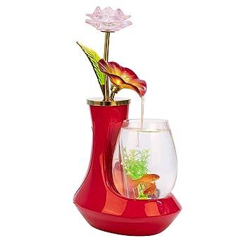 JIANGU - Fuente de Agua de Cristal de cerámica para decoración de Escritorio, para Sala
