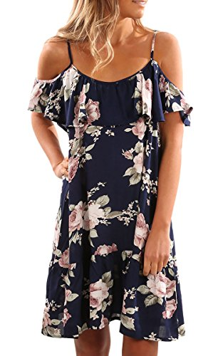Buy cheap ecowish womens summer ruffle cold shoulder spaghetti strap floral casual line dress