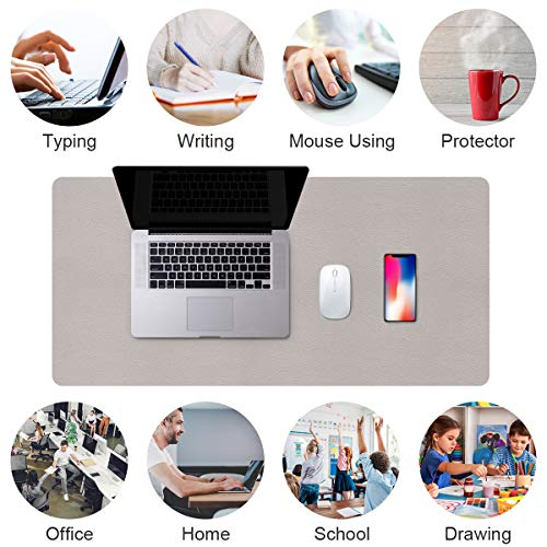 PUPUFU Large Leather Desk Pad - Dual Sided Office Desk Mat - 47.2''x23.6'' Extra Big Mouse Keyboard Pad Waterproof Mousepad Desk Cover Writing Pad for Office and Home(Silver/Gray)