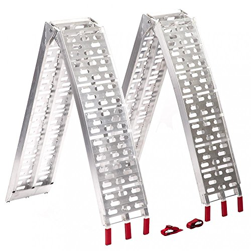 7.5 ft Aluminum ATV Truck Loading Ramps, Arched Bi-Fold Ramps Pair Bestmassage