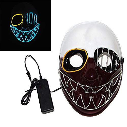 Scary Led Mask Purge Halloween Light Up Professional Rave Costumes Glow Stick Led Face Changeable Party City Mask for Parties Festival Costume by Latburg (led mask-001)]()