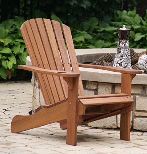 Outdoor interiors cd3111 eucalyptus adirondack chair and built in ottoman lavorist for Outdoor interiors eucalyptus rocking chair