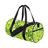 Cartoon Green Leaves Flowers Lightweight Canvas Sports Travel Duffel Yoga Bag