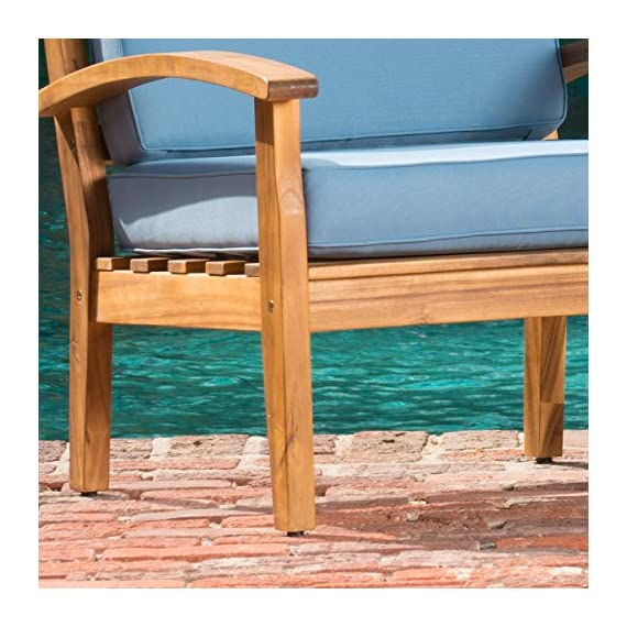 Preston 4 Piece Wood Outdoor Patio Seating Chat Set w/Blue Cushions - Includes: Two (2) Club Chairs, One (1) Loveseat, and One (1) Table Club Chair Dimensions: 32.50 inches deep x 28.00 inches wide x 31.25 inches high Seat Width: 22.75 inches Seat Depth: 23.25 inches Seat Height: 16.75 inches Arm Height: 22.50 inches Loveseat Dimensions: 32.50 inches deep x 50.75 inches wide x 31.25 inches high Seat Width: 45.50 inches Seat Depth: 23.25 inches Seat Height: 16.75 inches Arm Height: 22.50 inches - patio-furniture, patio, conversation-sets - 51UUsUFdDGL. SS570  -