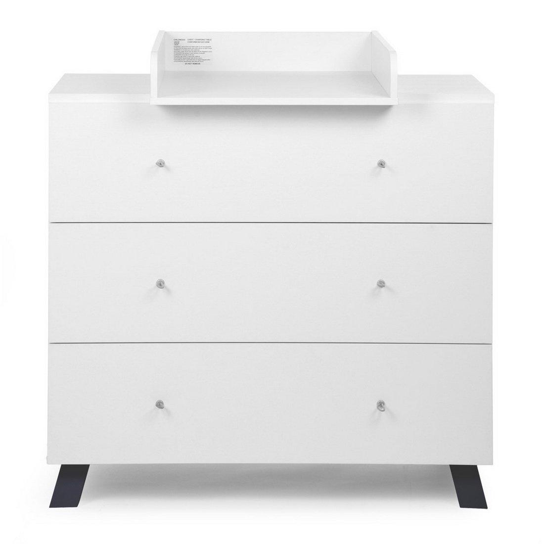 Childhome Designer Commode–A scomparsa Fasciatoio cameretta armadio cassetti, 100x 75x 104cm, Bianco