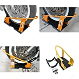 GOOD MEDIA Motorcycle Wheel Chock Lock Front Truck Storage Trailer Floor Solid Heavy Duty ✅