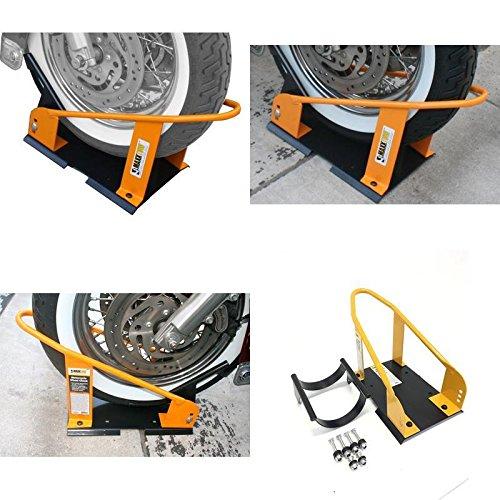 GOOD MEDIA Motorcycle Wheel Chock Lock Front Truck Storage Trailer Floor Solid Heavy Duty ✅
