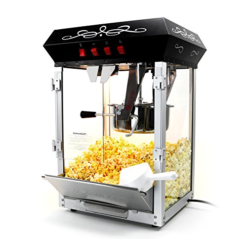 Paramount 8oz Popcorn Maker Machine - New Upgraded Feature-Rich 8 oz Hot Oil Popper [Color: Black] -