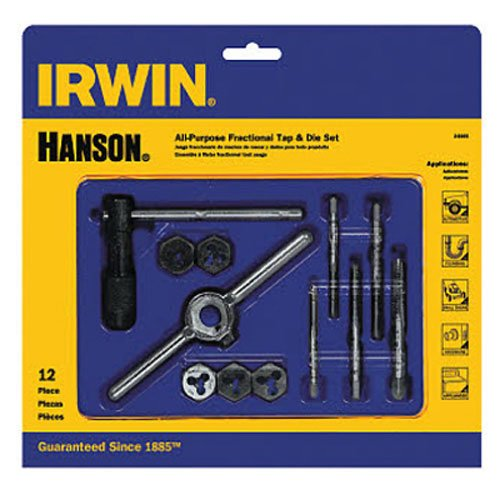 IRWIN Tools Machine Screw with Fractional Tap and Die Set, 12-Piece (24605) (Thread Tap And Die Set)
