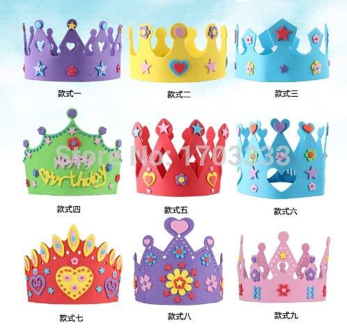 Crown Hat - 200pcs Eva Foam Crown Party Caps Self Adhesive Diy Handmade 3d Hat Craft Kits - Boy Cap Pin Cats Girls Party Girl Toddler Baby Low
