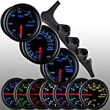 GlowShift 92-97 Ford F-150 F-250 F-350 Diesel Gauge Package + Black 7 Color 60 Boost, 1500 Pyrometer EGT & Trans Temp by GlowShift
