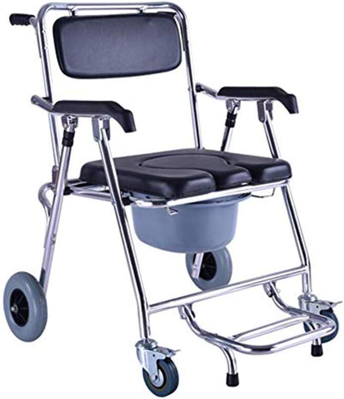 Massage-AED Silla De Ducha con Ruedas Altura De Inodoro Ajustable sobre Silla De Inodoro Acolchado Asiento, Respaldo Y Pedal