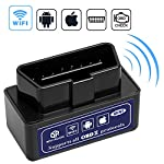 Car Wifi OBD 2, Mini OBD2 Scan Tool, Wsiiroon Mini Car OBD2 OBDII Scan Tool Auto Diagnostic Scanner Code Reader/Scan Tool Check Engine Light for IOS & Android (Black)