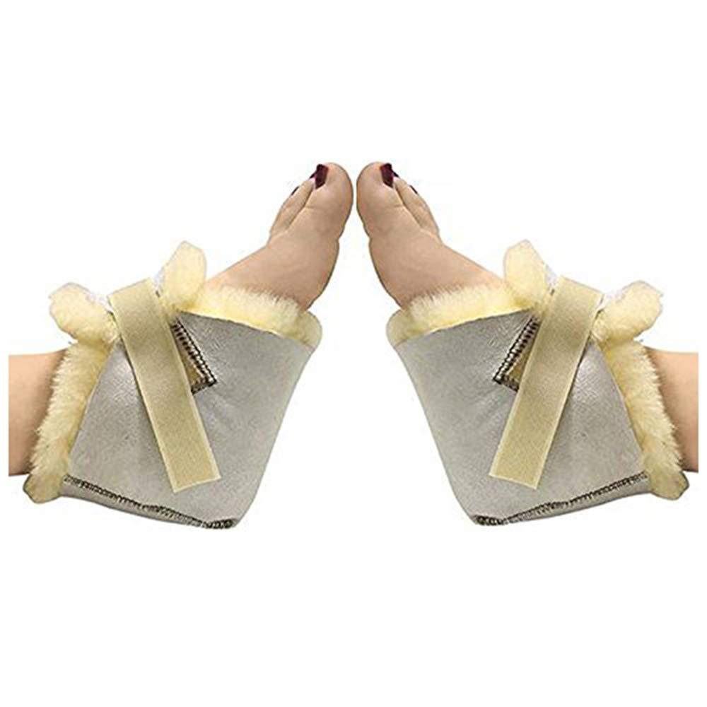 HUAHOO Genuine Medical Sheepskin Heel Protector for Bed sores Sheepskin Rug Sheepskin Protection Boots Sheepskin Foot Protectors (Pair) by HUAHOO