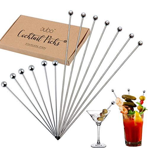 Cocktail Martini Picks and Stirrers Toothpicks - (12-PACK) 4 inch and 8 inch Reusable Cocktail Picks - Stainless Steel Metal Drink Skewers Sticks for Martini Olives Appetizers Bloody Mary Fruits