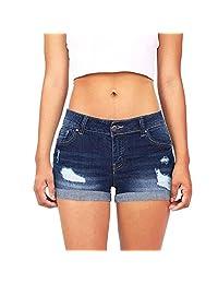 Women Denim Shorts On Sale Clearance ! Cuekondy Summer Casual Low Waist Mini Short Jeans Pants Sexy Hot Pants (Navy, M)