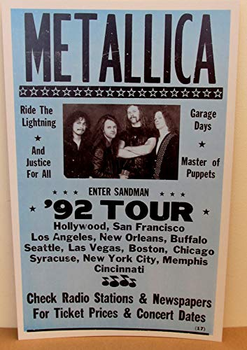 Vintage Metallica Concert Tour Poster 1992