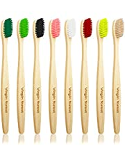 Bamboe Tandenborstel, Biologisch Afbreekbaar Houten Tandenborstels in 8 Kleuren, BPA-vrije, Plasticvrij Milieuvriendelijke Tandenborstel(Hardheidsgraad: Medium)