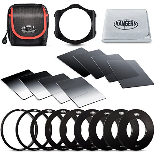 Rangers 8pcs ND Filter kit (Full and Graduated ND2, ND4, ND8, ND16 Filters, Optics) and 9 Filter Adaptors Ring (49-82mm) and 1 ABS Adaptor Holder + Carrying Case + Lens Cleaning Cloth from Rangers