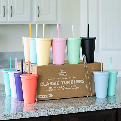 Tumblers with Lids (12 pack) 16oz Colored Acrylic Cups with Lids and Straws | Double Wall Matte Plastic Bulk Tumblers With FREE Straw Cleaner! Vinyl Customizable DIY Gifts (Assorted)