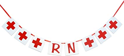 Amazon Com Rn Banner Sign Red Party Banner Decoration For Nurses Graduation Party Grad From Nursing School College Red Toys Games