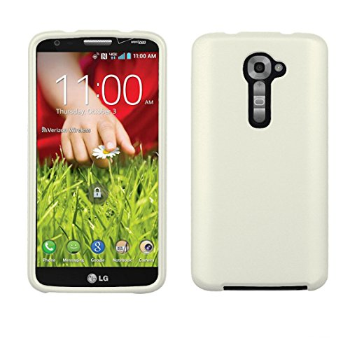 Beyond Cell for LG G2 VS980 (Verizon Version Only) Premium Protection Slim Light Weight 2 Piece Snap On Non-Slip Matte Hard Shell Rubber Coated Rubberized Phone Case - White (Lg G2 Rubber Phone Case Verizon)
