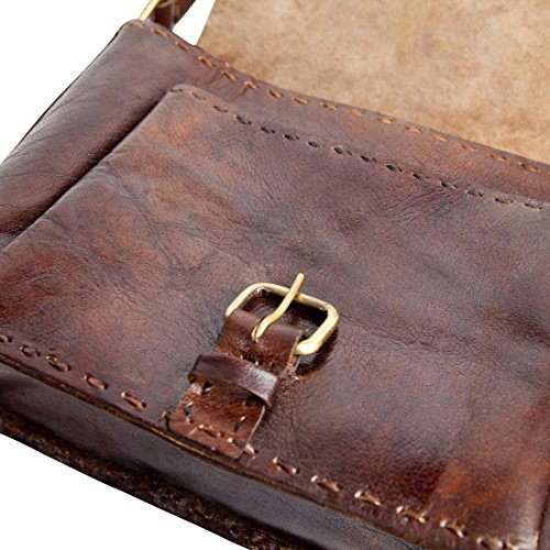 Classic Large Handmade Dark Brown Leather Cross-Body Bag