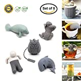 BPA-Free Silicone Animal Funny Tea Infuser for Loose Leaf Tea Strainer,Set of 5 Tea Strainers Handle Stainless Packed in Box for Travel Mug Bottle