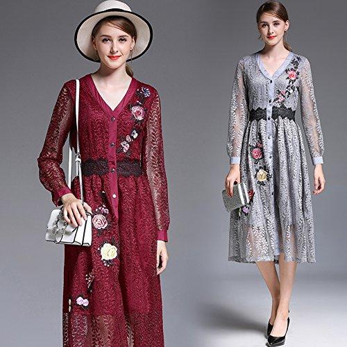 GX GX GX Mode - Temperament Herbst Kleid, Das Kleid europäische und amerikanische langärmelige v - Kragen eingestickt Spitzen - Kleid B078SLWFSK Damen Erste Gruppe von Kunden aa653d