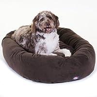 Cama para perros Bagel de gamuza color chocolate de 52 pulgadas por Majestic Pet Products