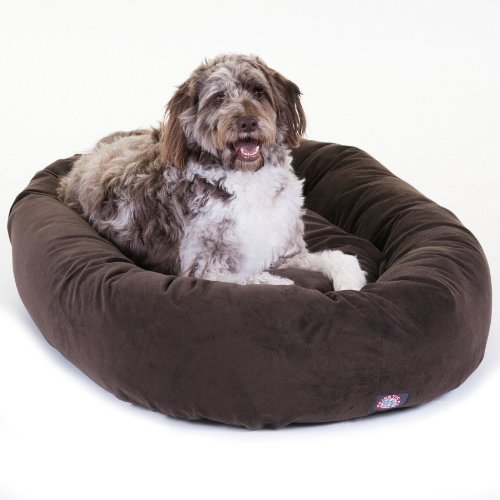 52 inch Chocolate Suede Bagel Dog Bed By Majestic Pet Produc
