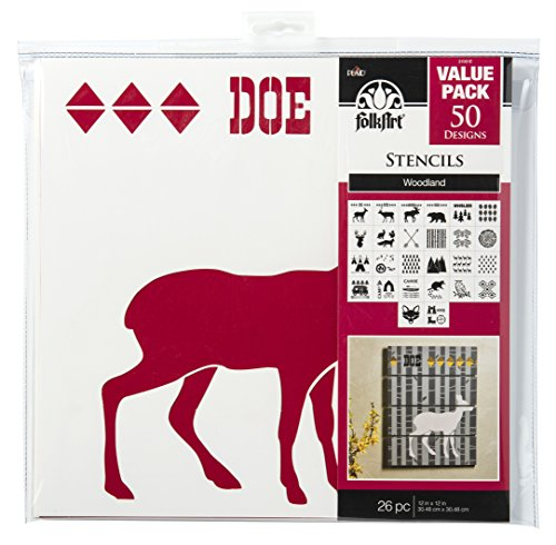 FolkArt 31561E Die Cut Paper, Woodland Stencil Value Pack, 12 x 12-Inch (Pack of 26), 12