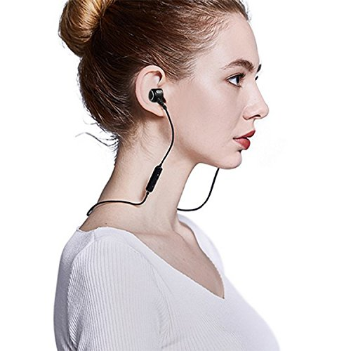 Bluetooth Headphones,EarTime Wireless V4.1 Magnetic In-Ear Stereo Earphones Sweatproof Sports Earbuds with Mic (Support Hi-Fi music,HD calling) (Black)