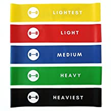 Resistance Loop Bands - elevans Premium High Quality Exercise Bands Set of 5 for Yoga, Pilates, and Strength Training - Designed in Canada