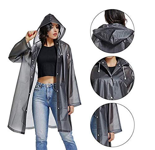 Gorgester Reusable Raincoat EVA Rain Poncho Long Rainwear Packable Lightweight Hooded Raincoat Travel Fishing Hiking Unisex Men Women Long Rain Cape M