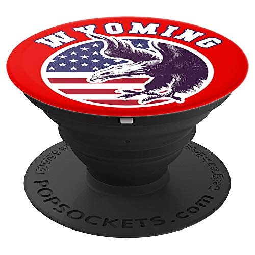 Wyoming Eagle USA Flag Patriot Stars Stripes Item - PopSockets Grip and Stand for Phones and Tablets