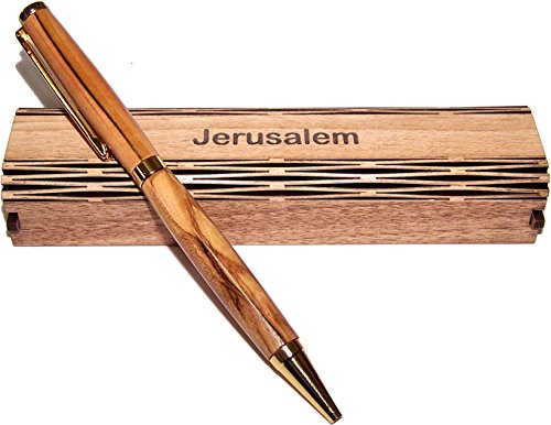 Handmade ballpoint pen handcrafted from Bethlehem Olive wood with special gift wooden box - elegant and sleek design (Jerusalem Box)