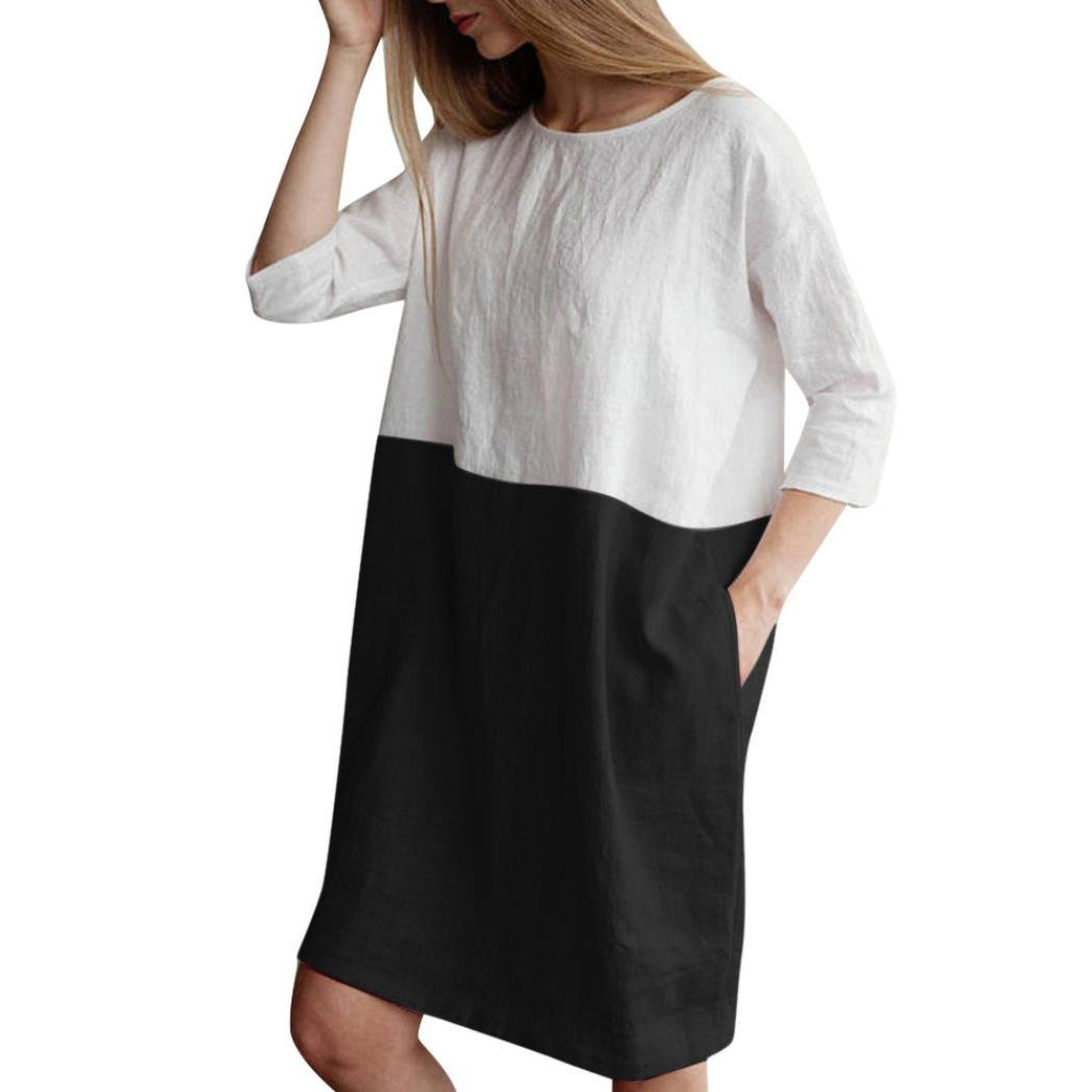 1c6a39236e5 Women Casual Loose 3/4 Sleeve Cotton Linen Color Block Dress Oversize  Pockets Tunic Shirt Dress: Clothing