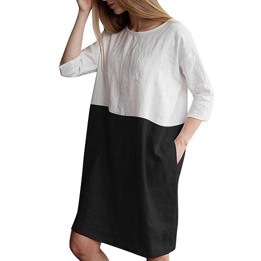 aca0f2c4d64f Women Casual Loose 3 4 Sleeve Cotton Linen Color Block Dress Oversize  Pockets