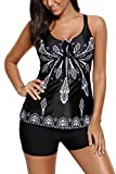 Chase-Secret-Womens-Summer-Open-Back-Printed-Padded-Tankini-Top-Swimsuit-with-Swim-Shorts-S-XXL