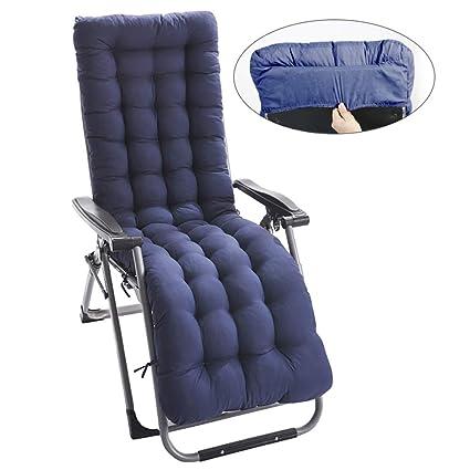 Cuscino Prendisole Cuscino per Esterno da Giardino Cuscino per sedie a Sdraio Cuscino Imbottito per Sedia reclinabile con Cinghie Elastiche