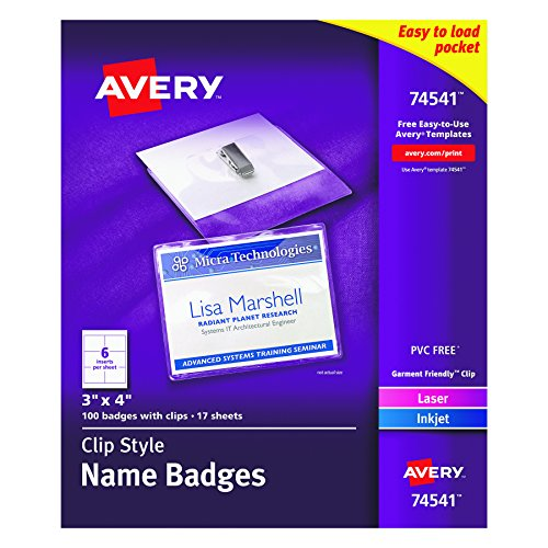 Avery Garment-Friendly Clip Style Name Badge Holders, with Inserts,  Box of 100 (74541) Soft Badge