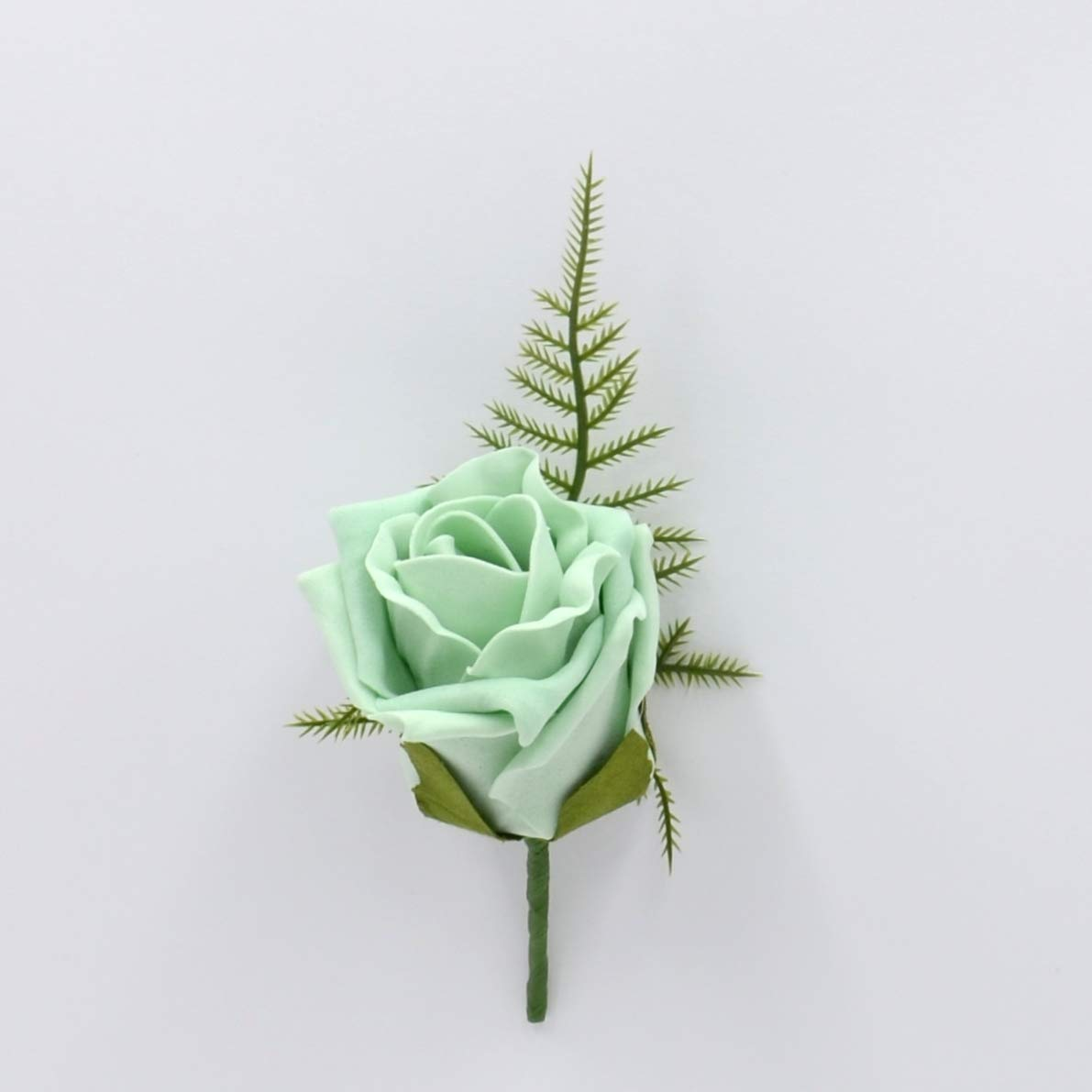 Artificial Wedding Flowers Hand-Made by Petals Polly, Foam Rose Buttonhole in Mint Green PETALS POLLY FLOWERS